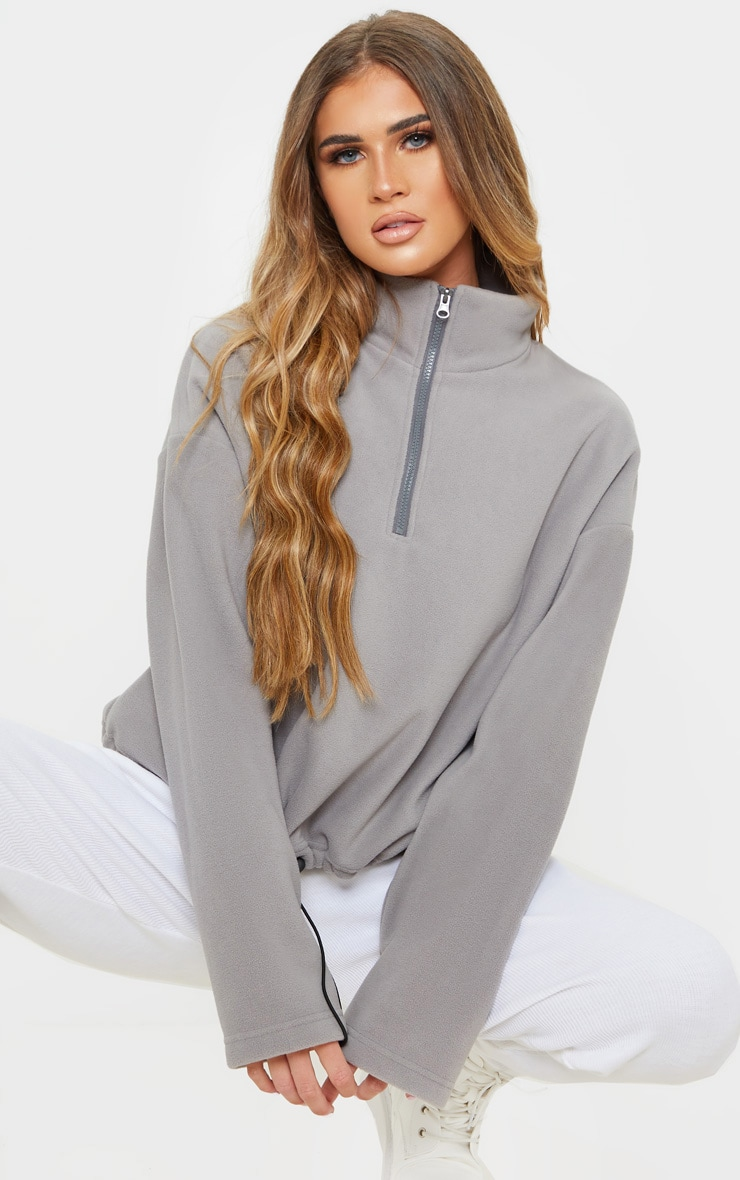 Grey Zip Front Crop Fleece Sweater 1