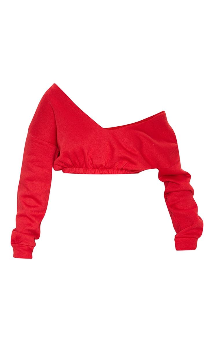 Red Crop Off Shoulder Sweater  3