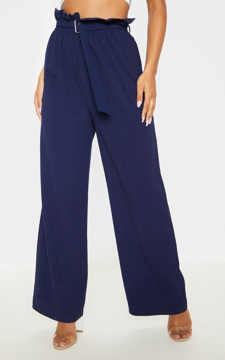 Navy Paperbag Waist Cropped Pants  2