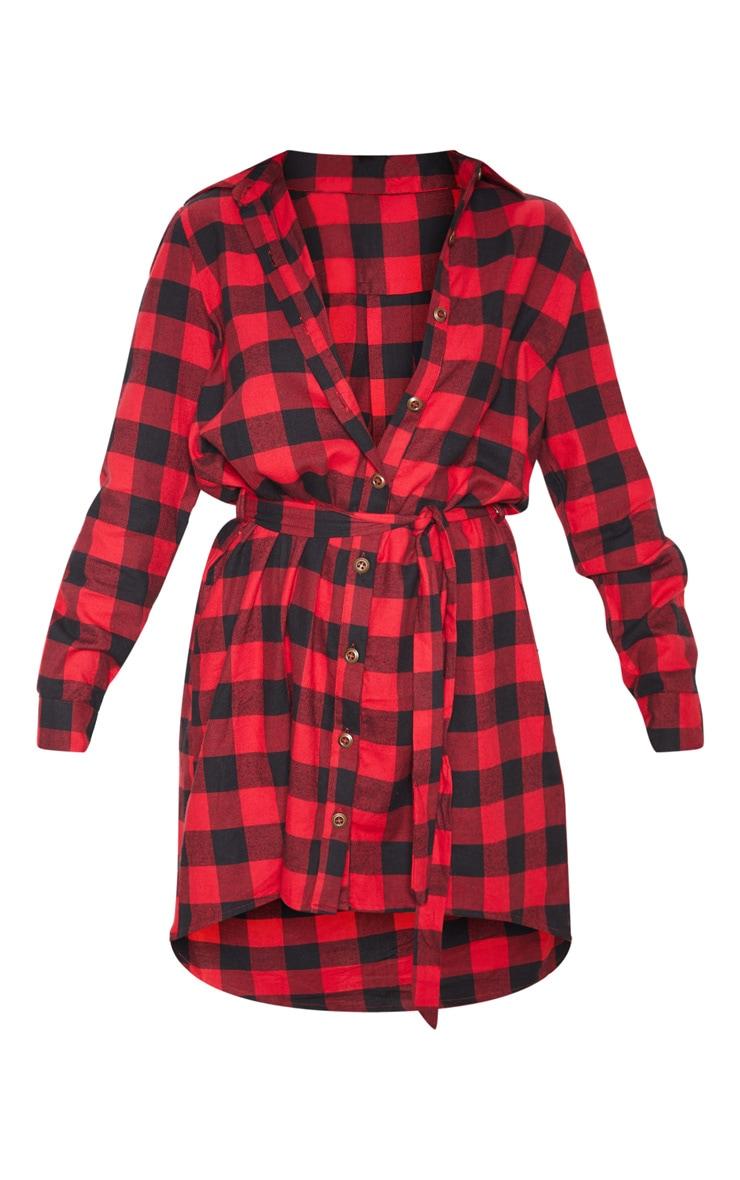 Robe mi-longue à carreaux rouges ceinturée 3