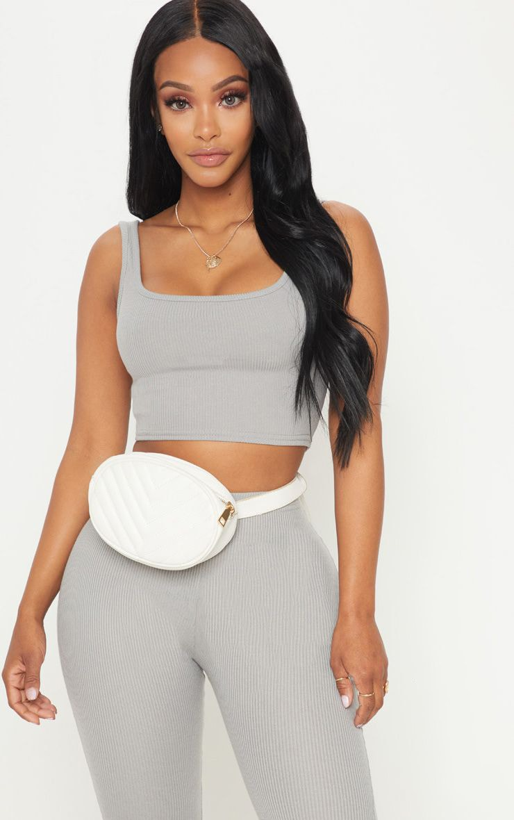 Shape Charcoal Ribbed Scoop Neck Crop Top  1