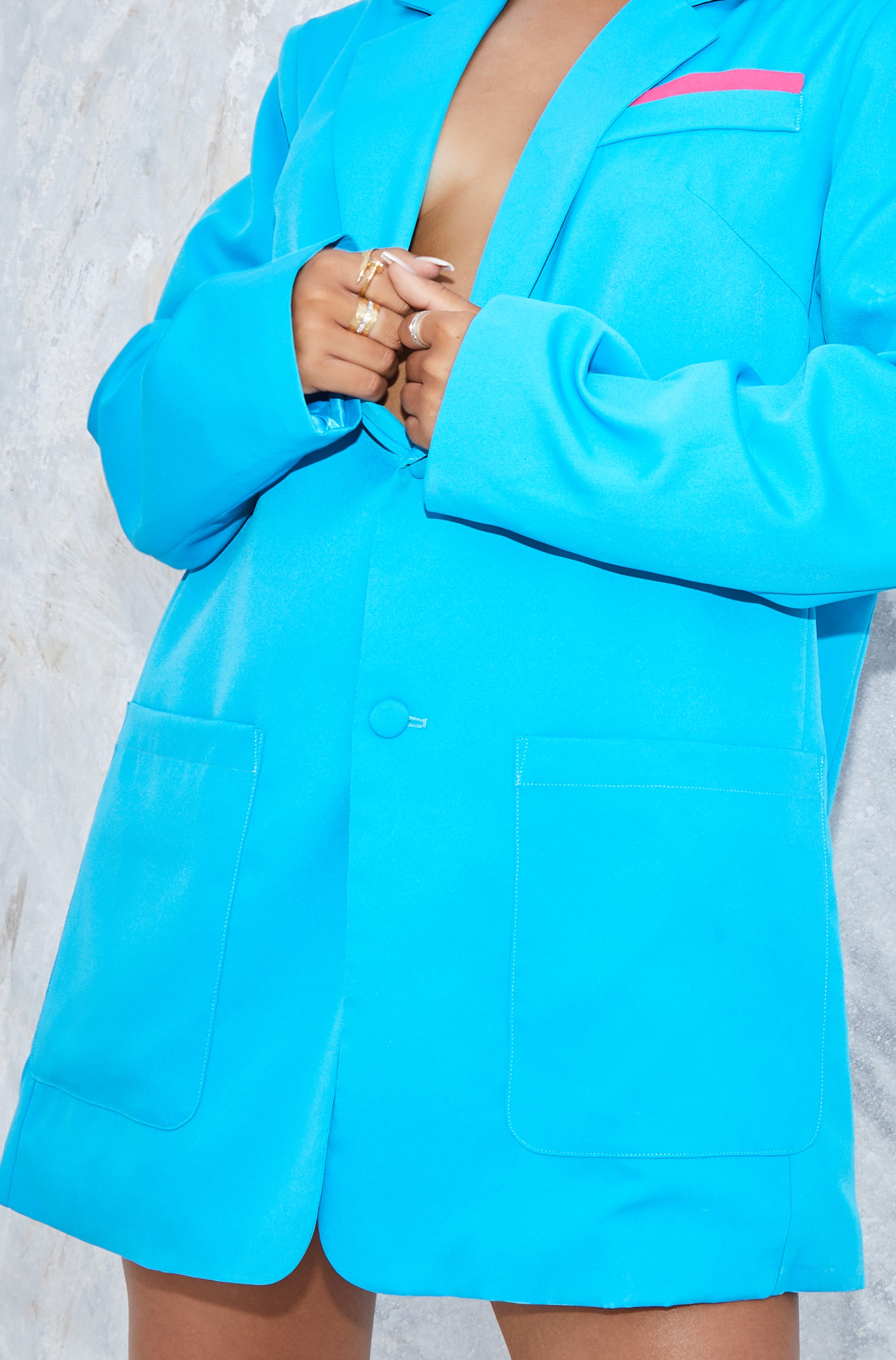 Bright Blue Extreme Oversized Blazer 4