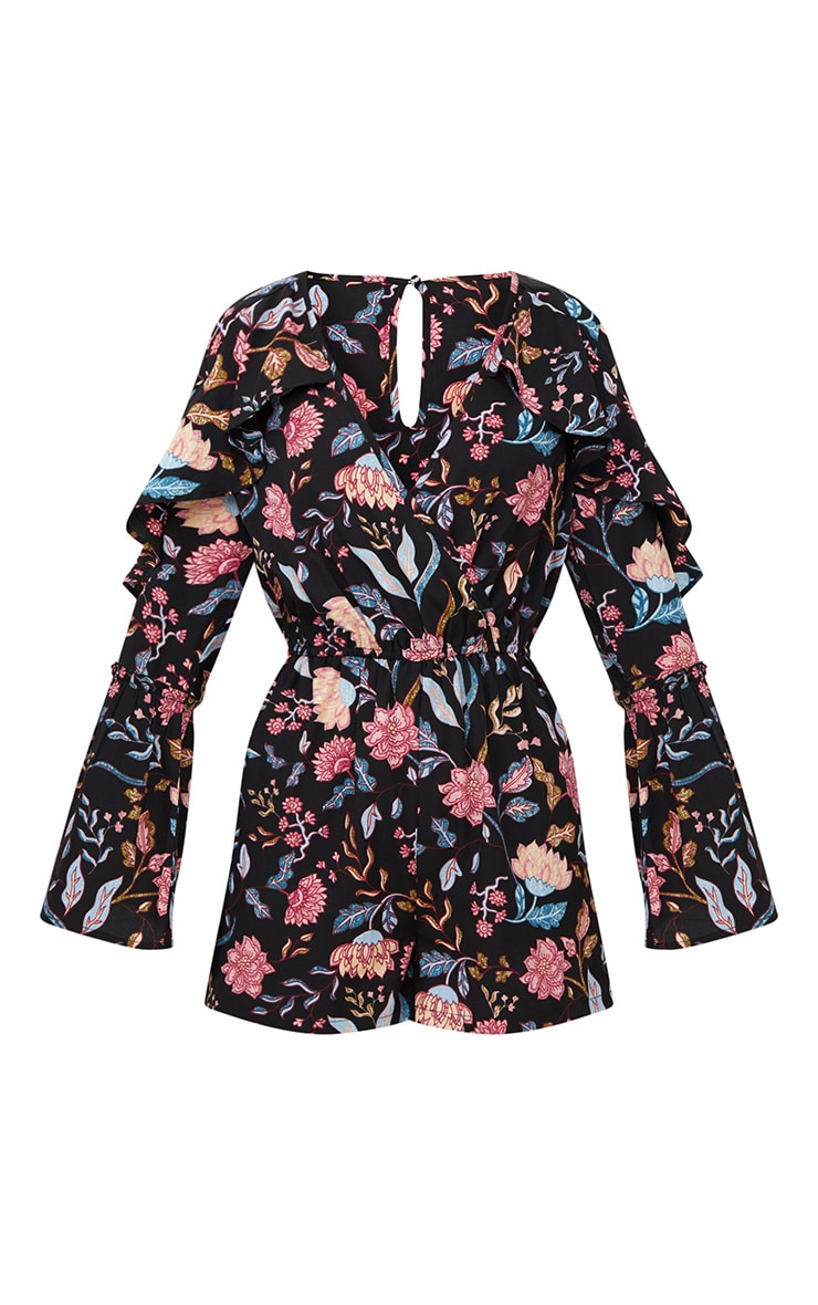 Navy Floral Frill Playsuit 2