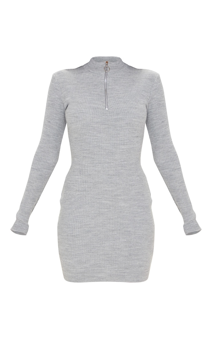 Grey High Neck Zip Front Rib Knit Dress 3
