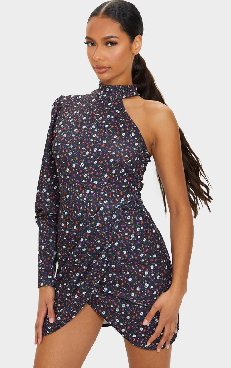 Black Ditsy One Shoulder Puff Sleeve Wrap Skirt Bodycon Dress 1