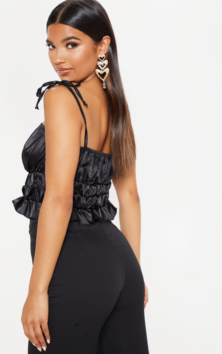 Black Satin Ruched Tie Detail Cami 2
