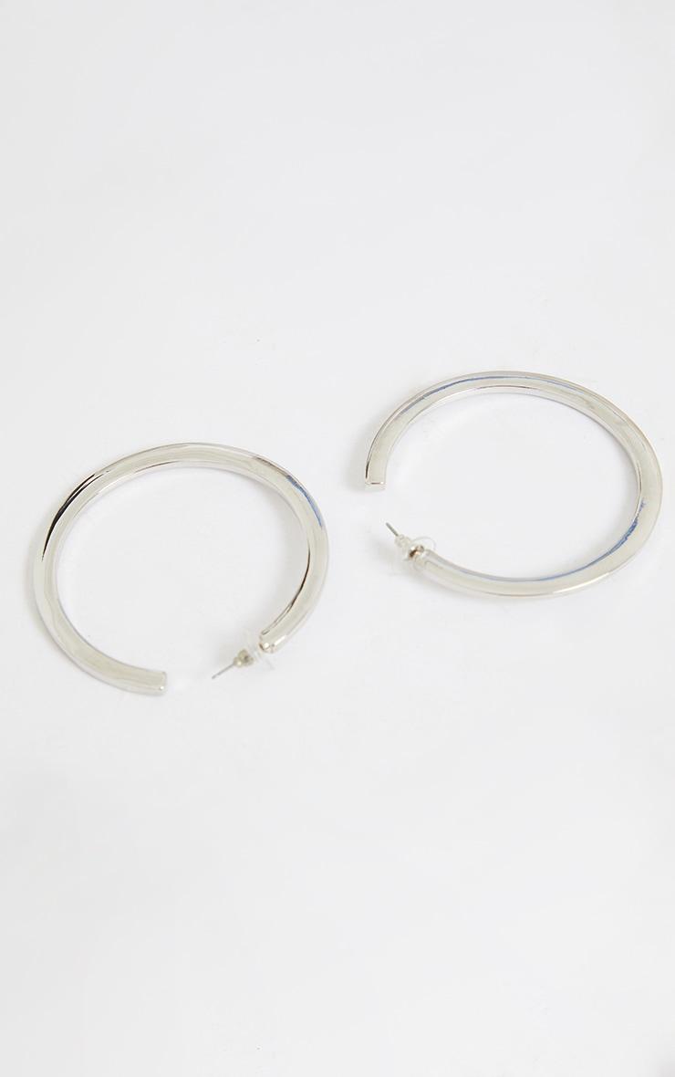 Silver Thick Flat Hoop Earrings 3