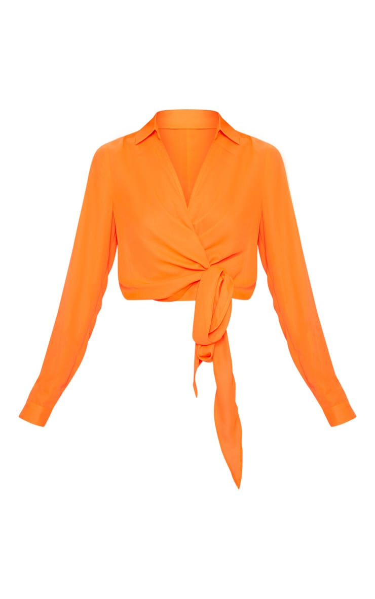 Neon Orange Wrap Front Tie Side Blouse 3