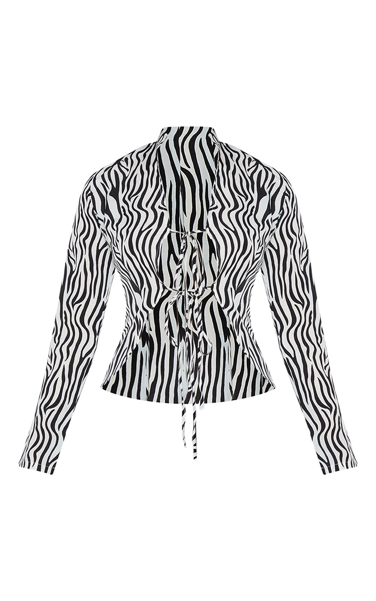 Monochrome Zebra Printed Woven Double Tie Front Long Sleeve Crop Top 5