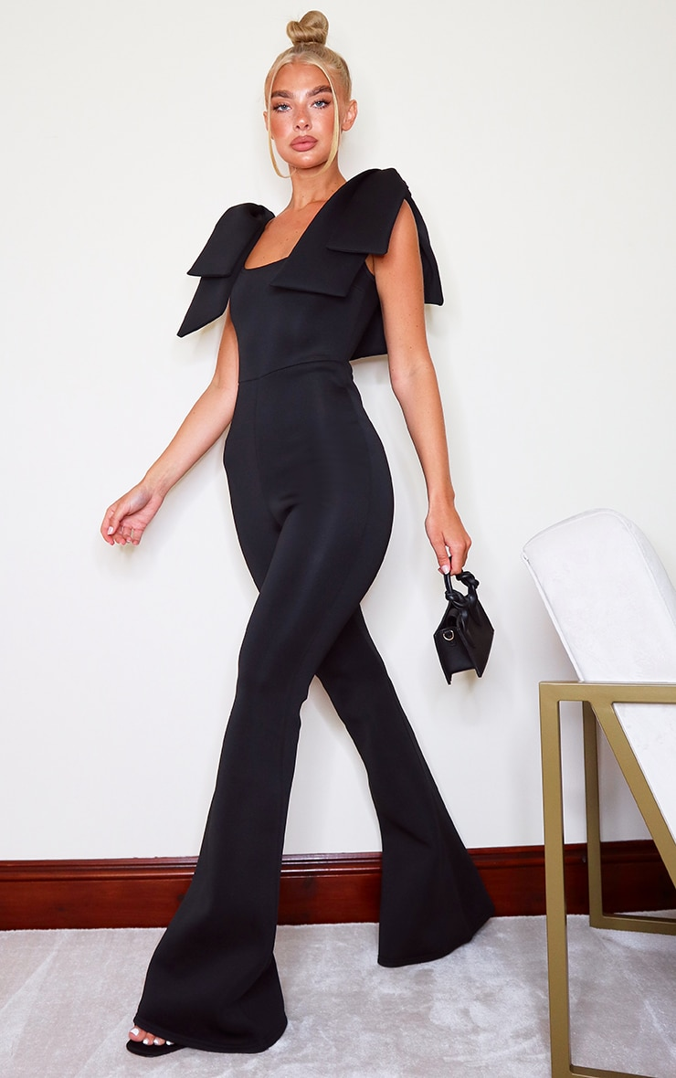 Black Bow Shoulder Flared Leg Scuba Jumpsuit 3