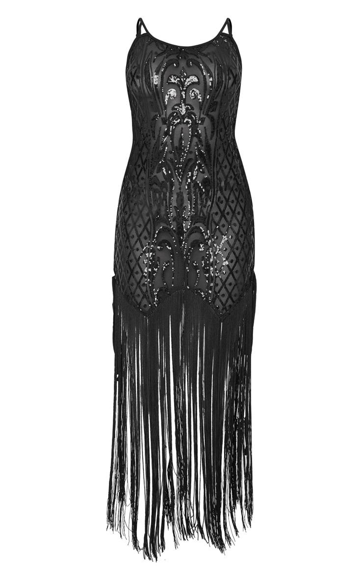 Black Sequin Lace Up Side Tassel Midi Dress