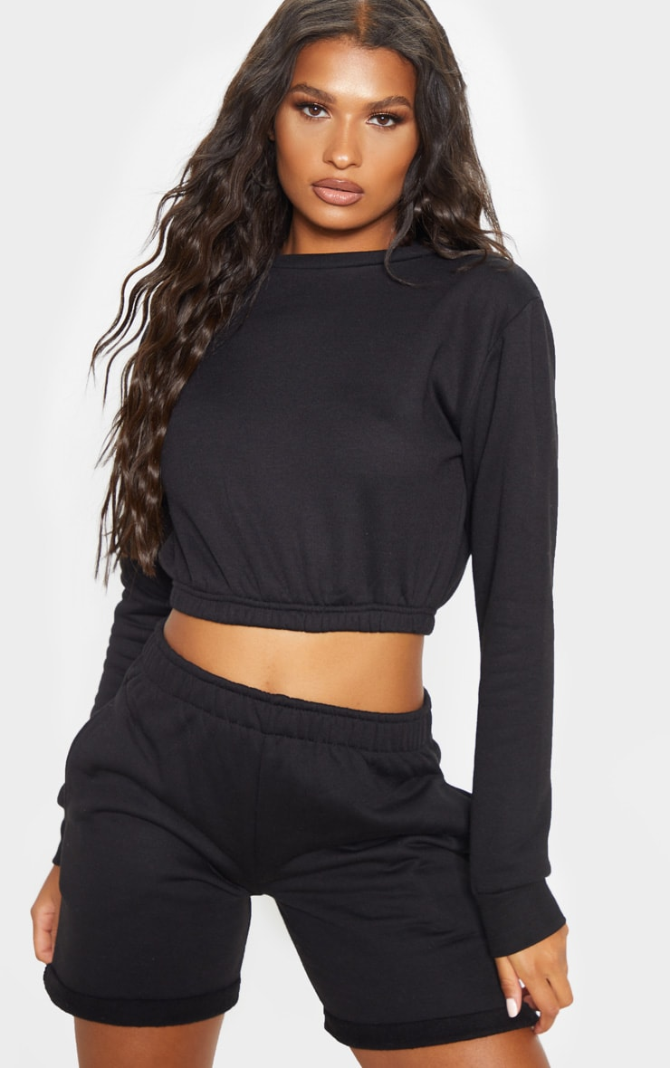 Black Crew Neck Elasticated Hem Sweater 4