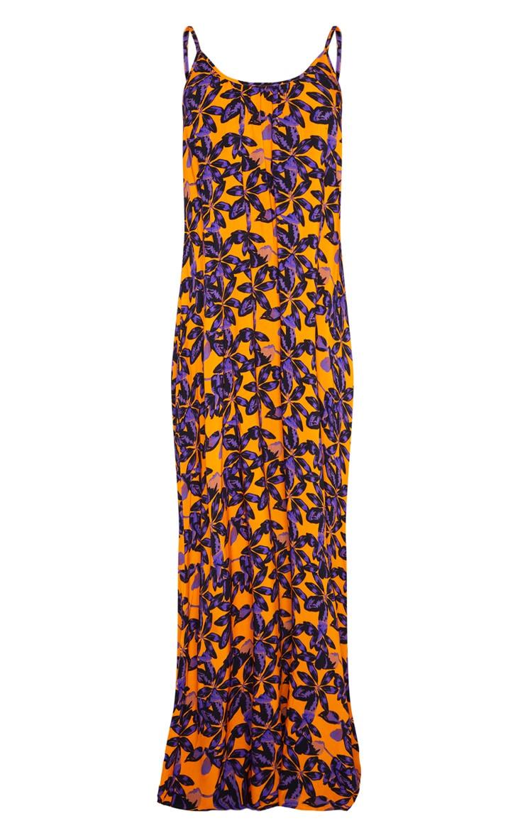 Orange Shadow Leaf Low Back Oversized Maxi Beach Dress 3