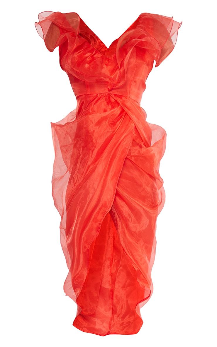 Red Organza Draped Frill Detail Midi Dress 5