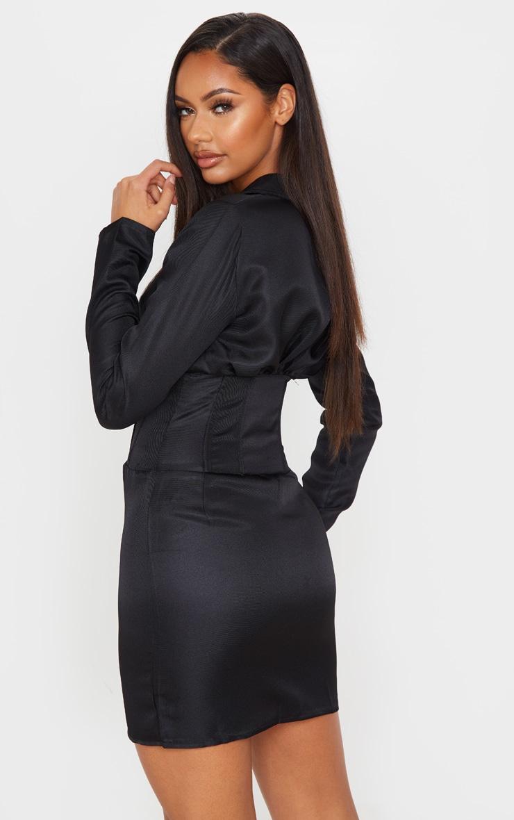 Black Hook & Eye Boned Detail Blazer Dress 2