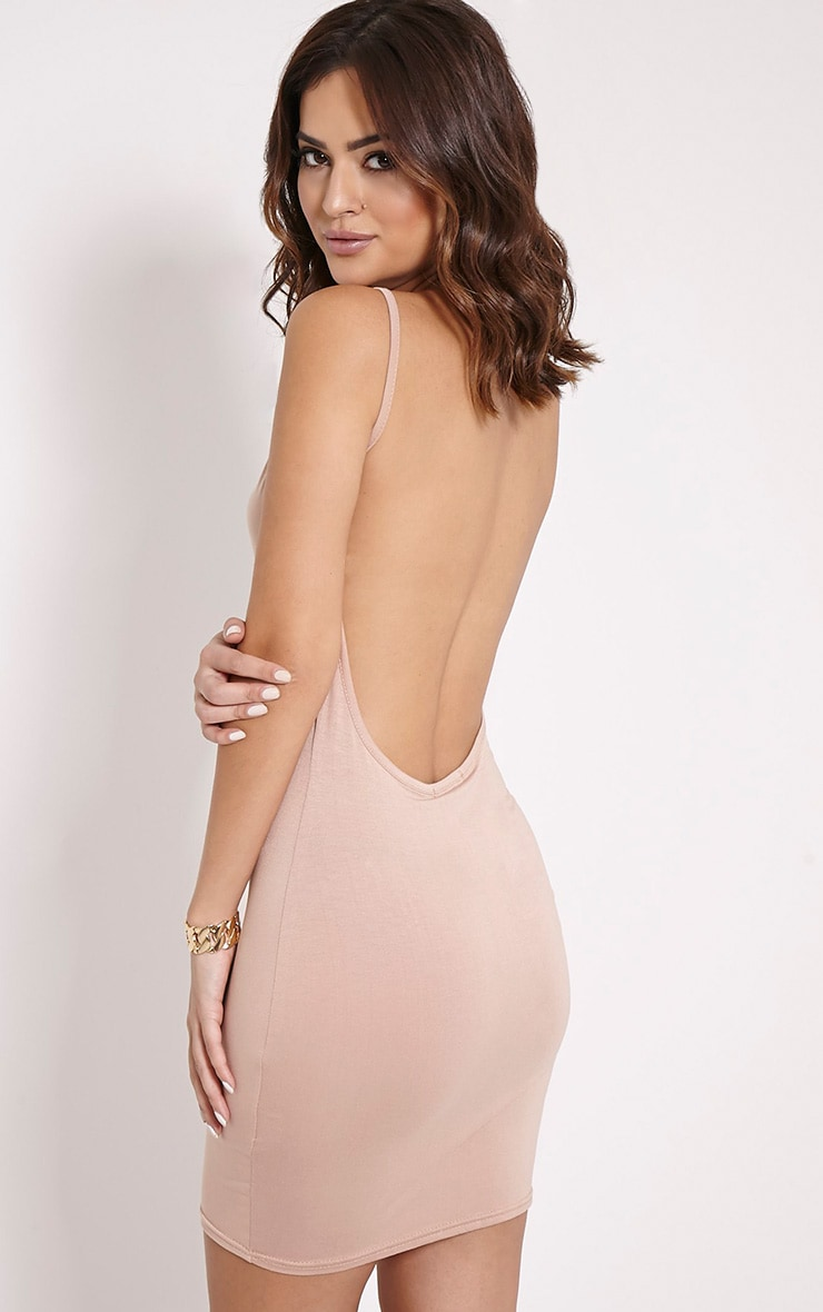 Natallia Taupe Scoop Back Dress 1
