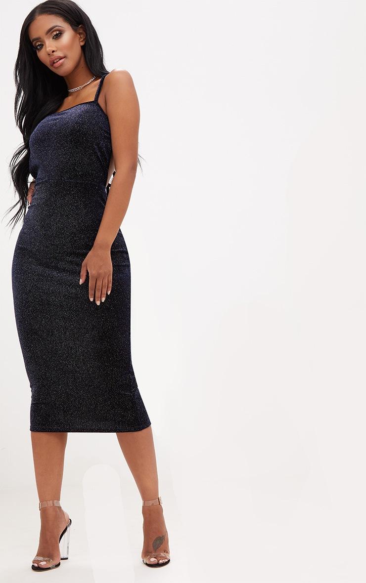 Shape Navy Sparkle Velvet Low Back Dress 4