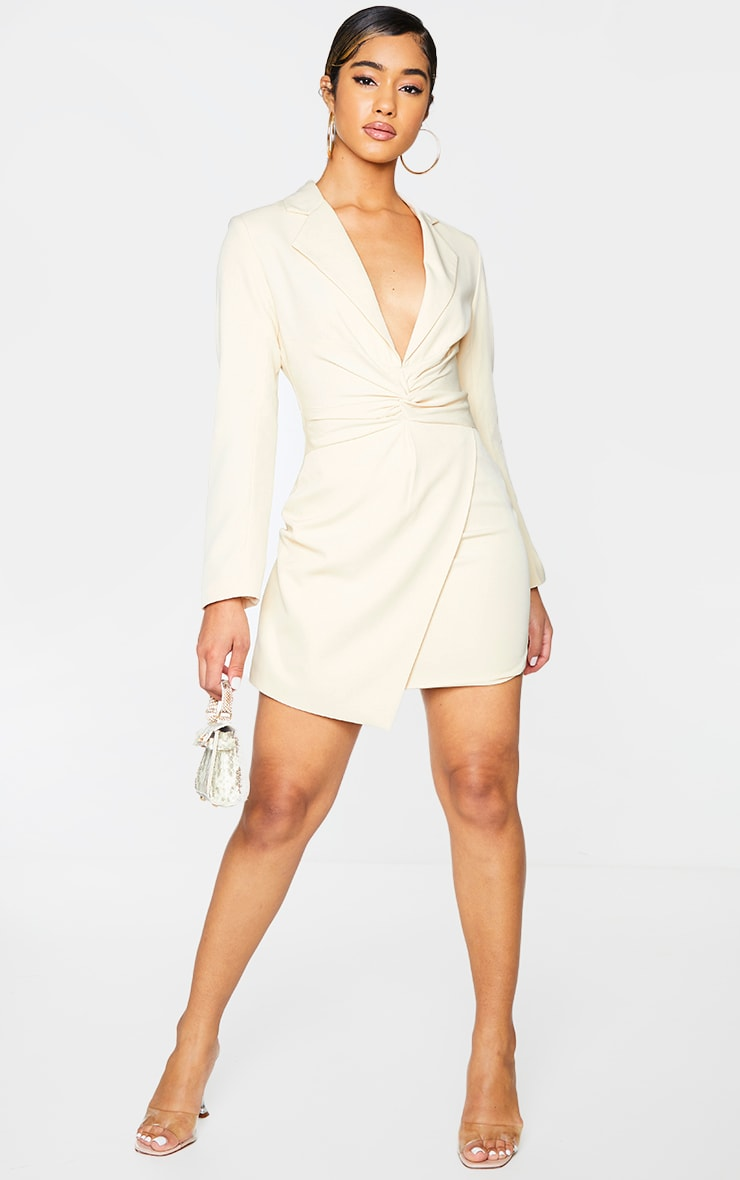 Nude Woven Twist Front Blazer Style Bodycon Dress 3