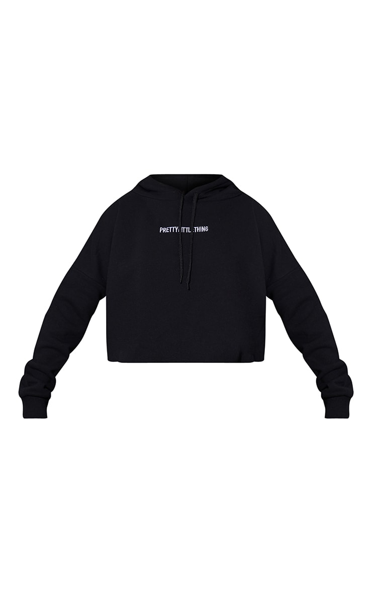 PRETTYLITTLETHING Black Embroidered Cropped Slogan Hoodie 5