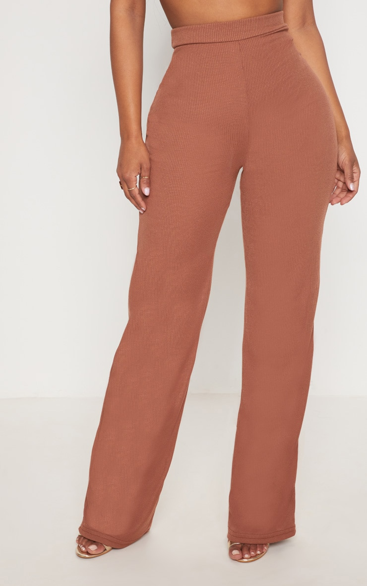 Shape Chocolate Ribbed Wide Leg Trousers 2