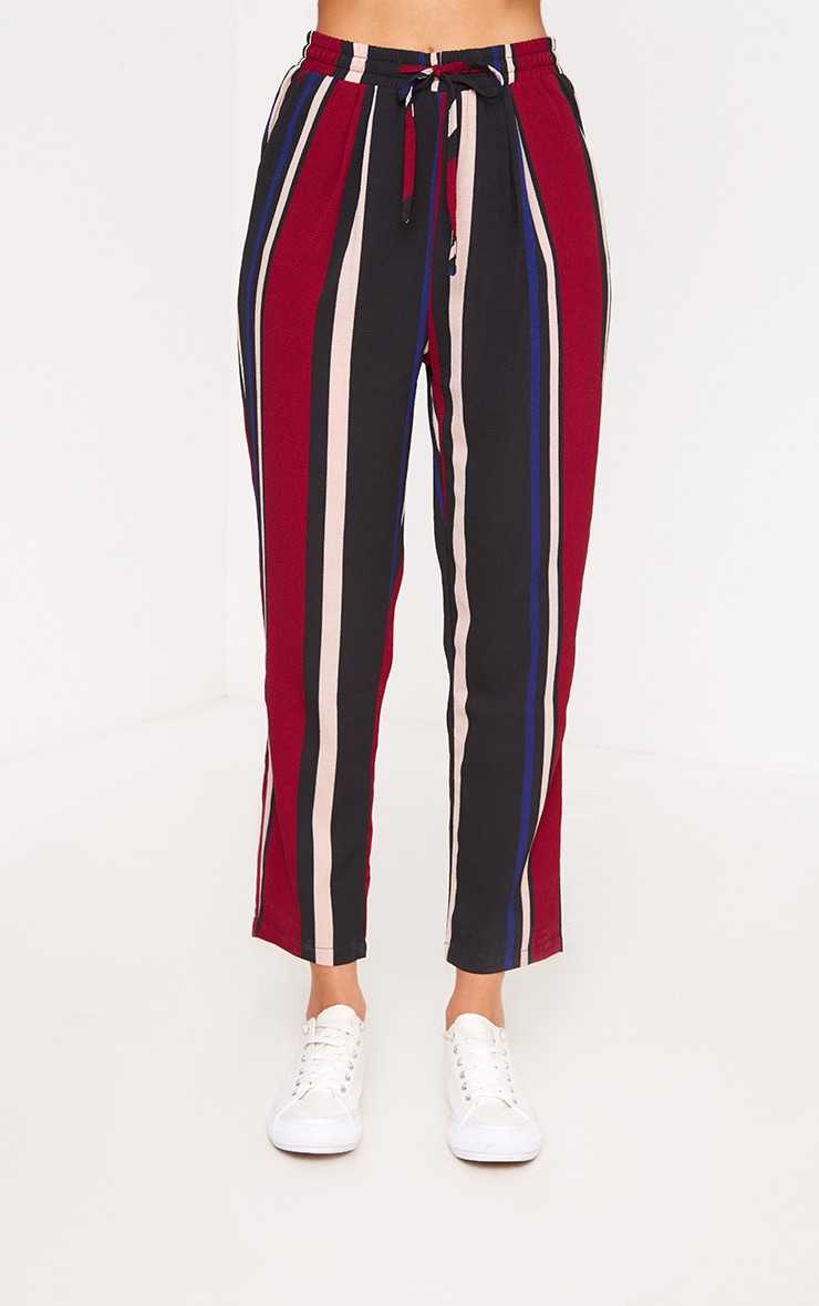 Burgundy Stripe Casual Trousers 2