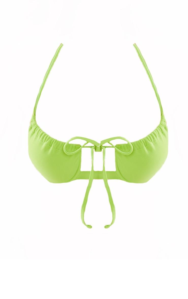 Olive Ruched Underwired Bikini Top 5