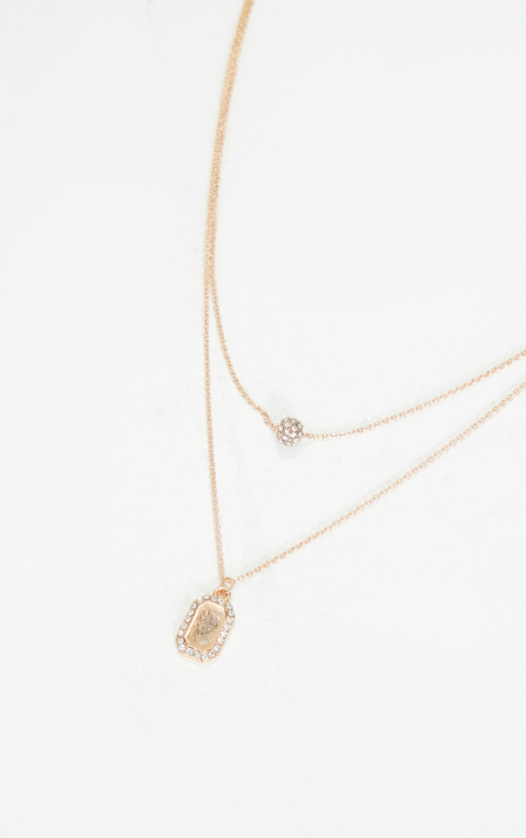 Gold Diamante Tag And Ball Charm Layering Necklace 2