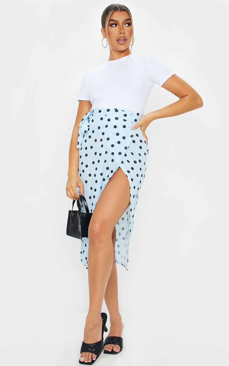 Blue Wrap Around Polka Dot Midi Skirt 1