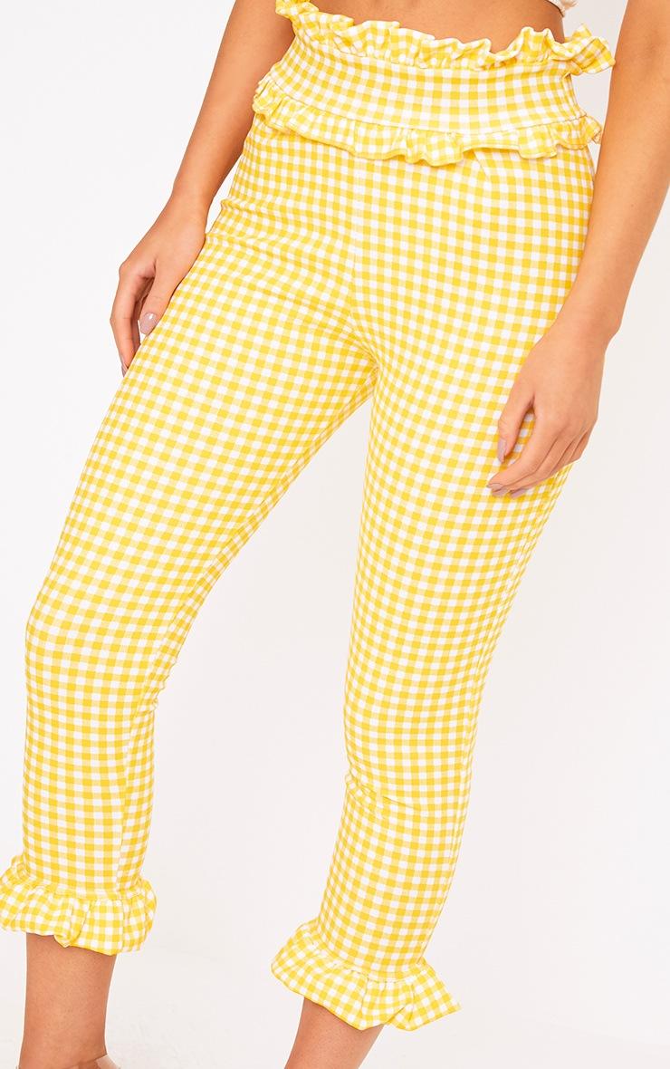 Keren Yellow Gingham Frill Trim Trousers 4