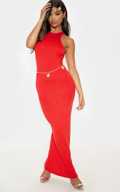 Red Jersey High Neck Maxi Dress