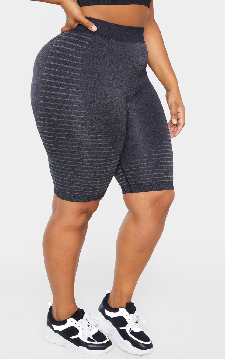 Plus Dark Grey Seamless Stripe Detail Short 2