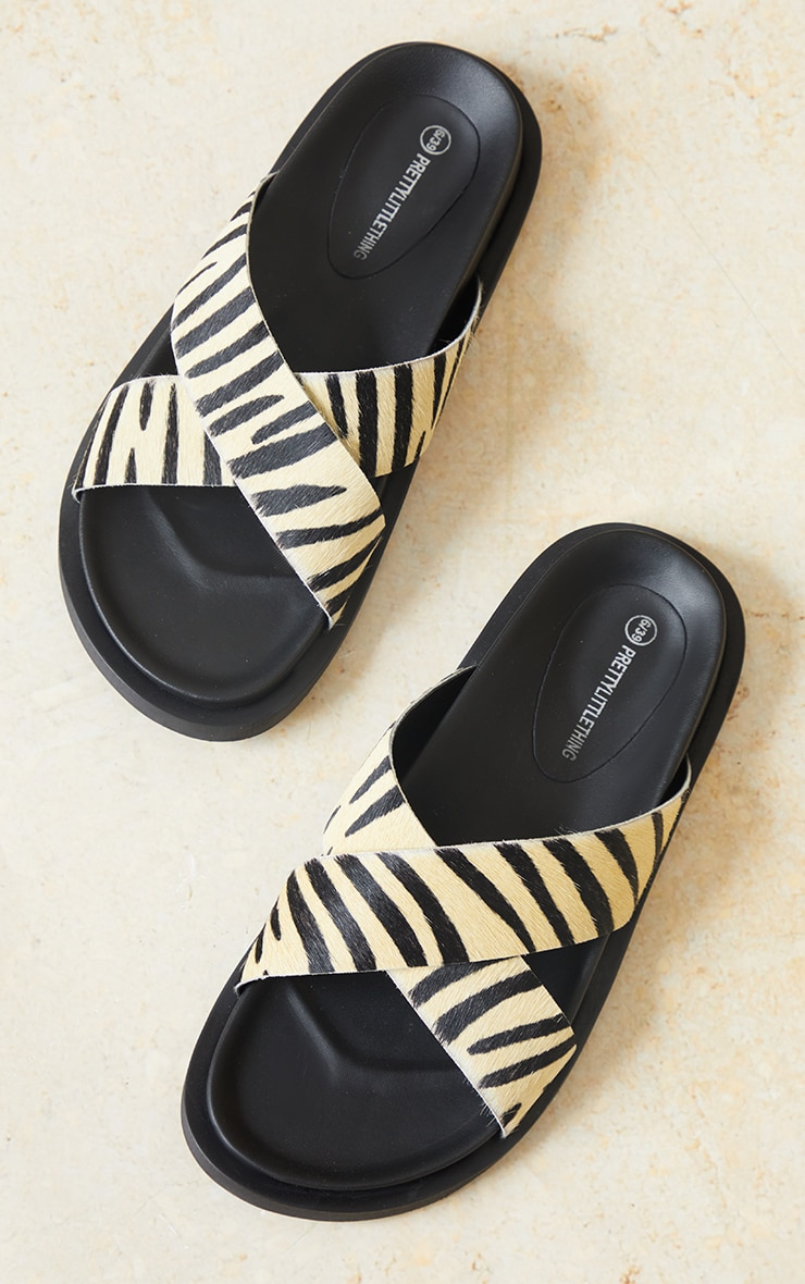 Zebra Real Leather Cross Over Footbed Mule Sandals 3