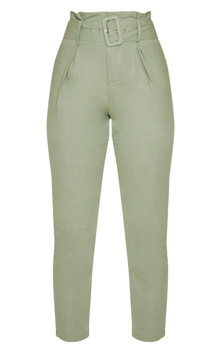 Sage Green Belted Paperbag Tapered Trouser 3