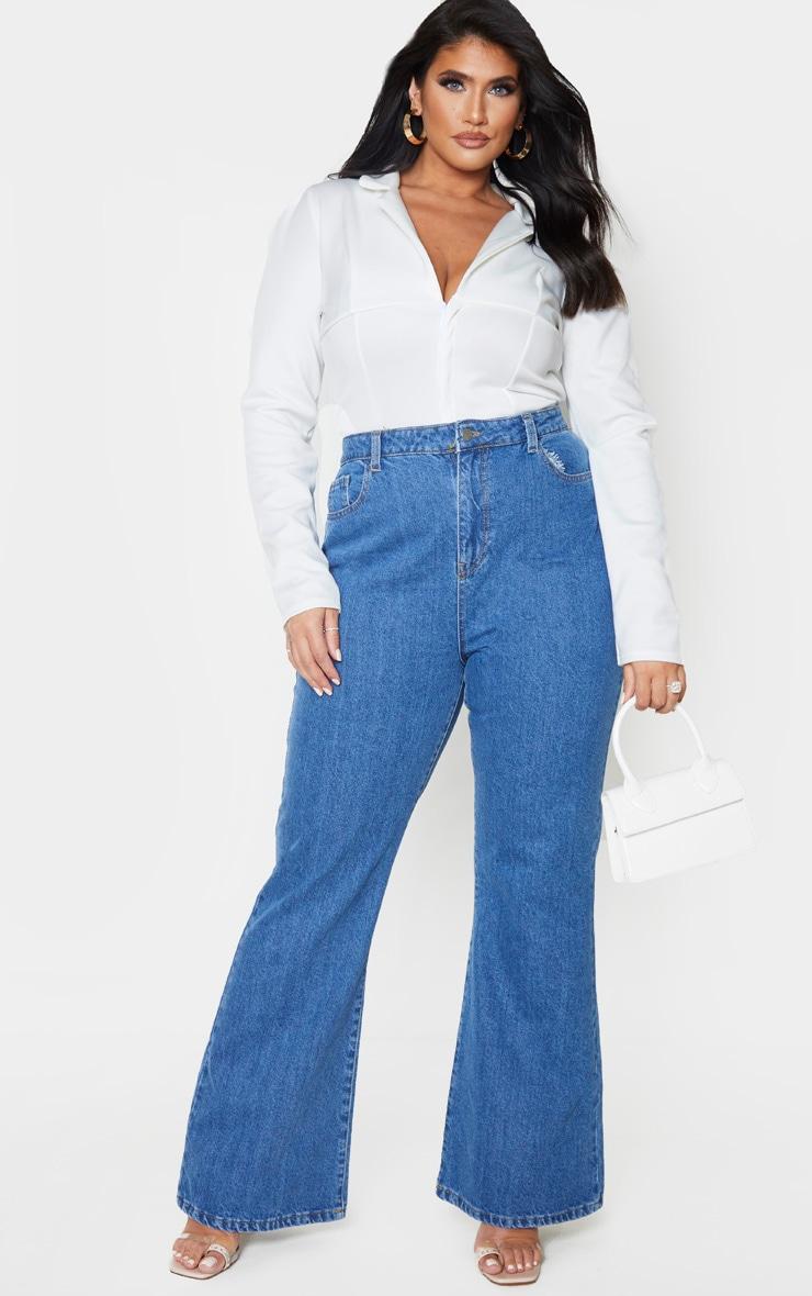 Plus Mid Blue Wash High Waist Flared Jeans 1