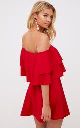 Red Frill Bardot Skater Dress. Dresses  b5c7a8830
