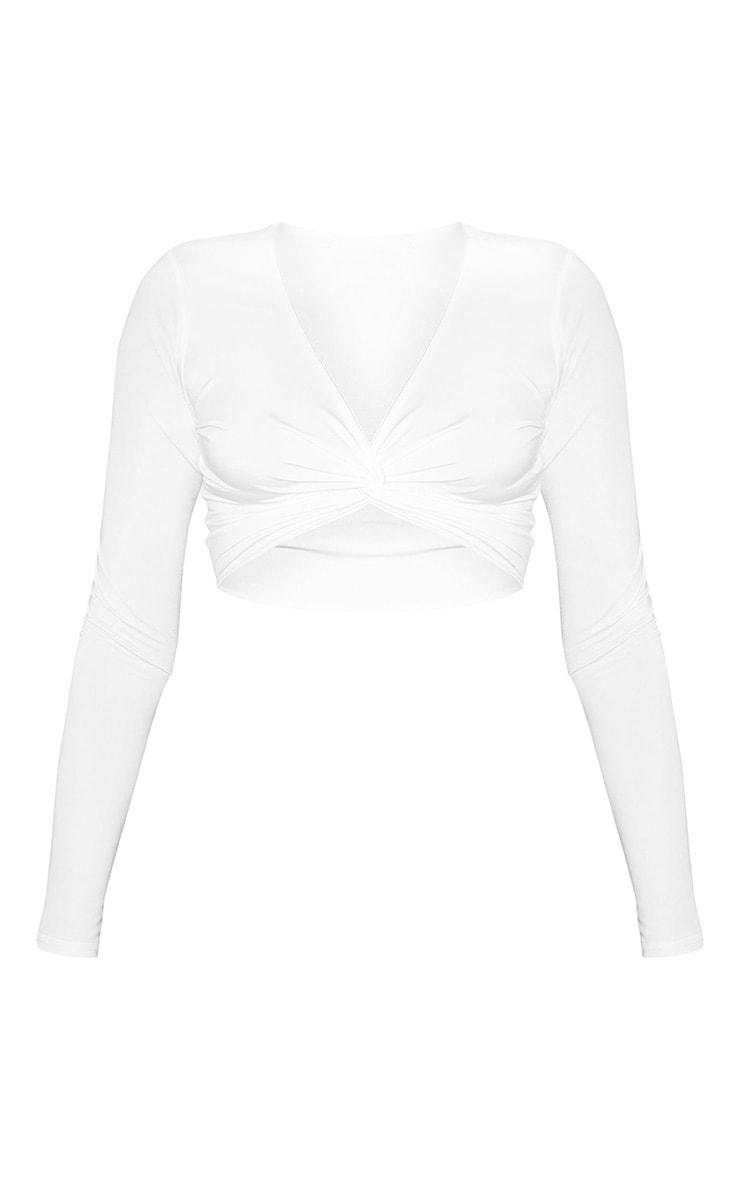 White Slinky Long Sleeve Twist Front Crop Top 3