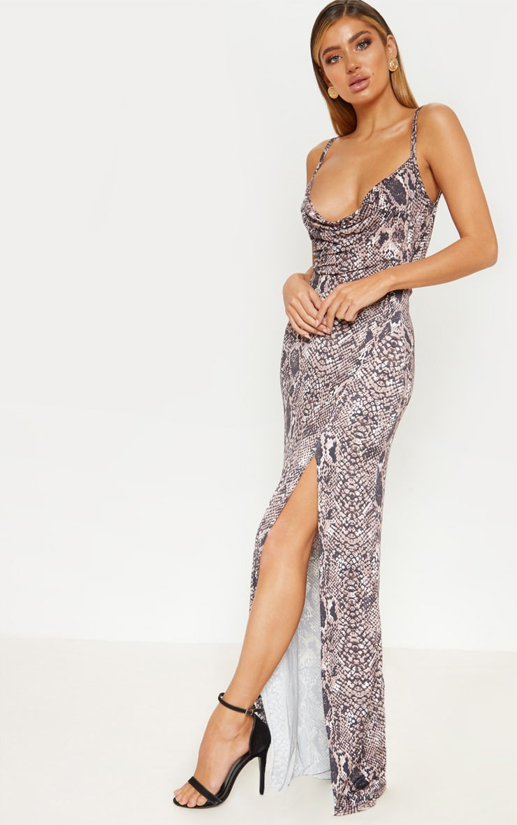 Taupe Snake Print Cowl Maxi Dress 4