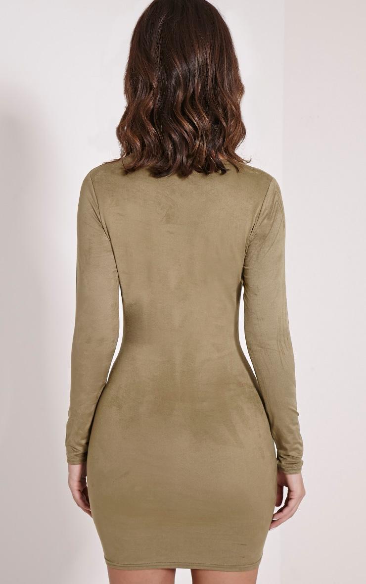 Braelynn Khaki Faux Suede Long Sleeved Mini Dress 2