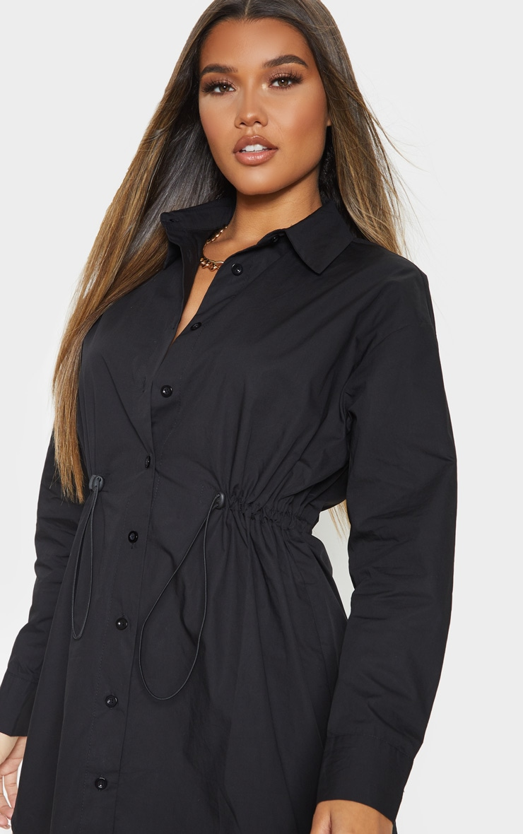 Black Toggle Drawstring Shirt Dress 5