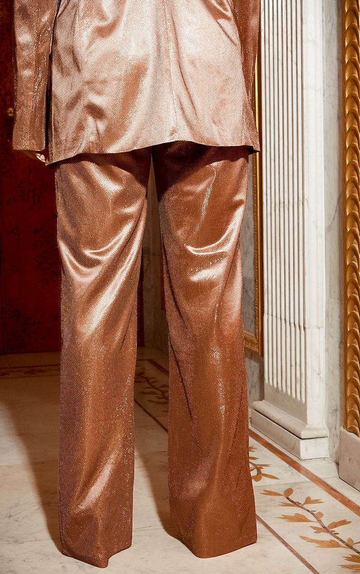 Copper Metallic Wide Leg Trouser 5