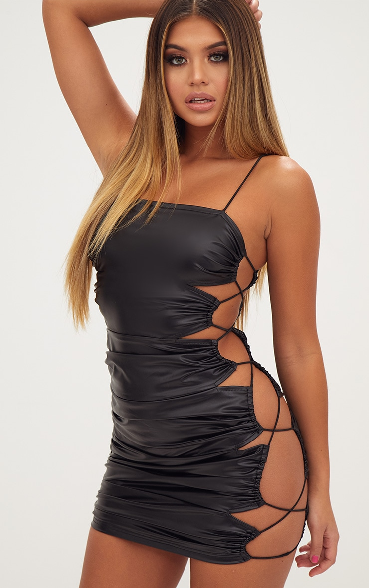 Black PU Lace Up Side Bodycon Dress 1