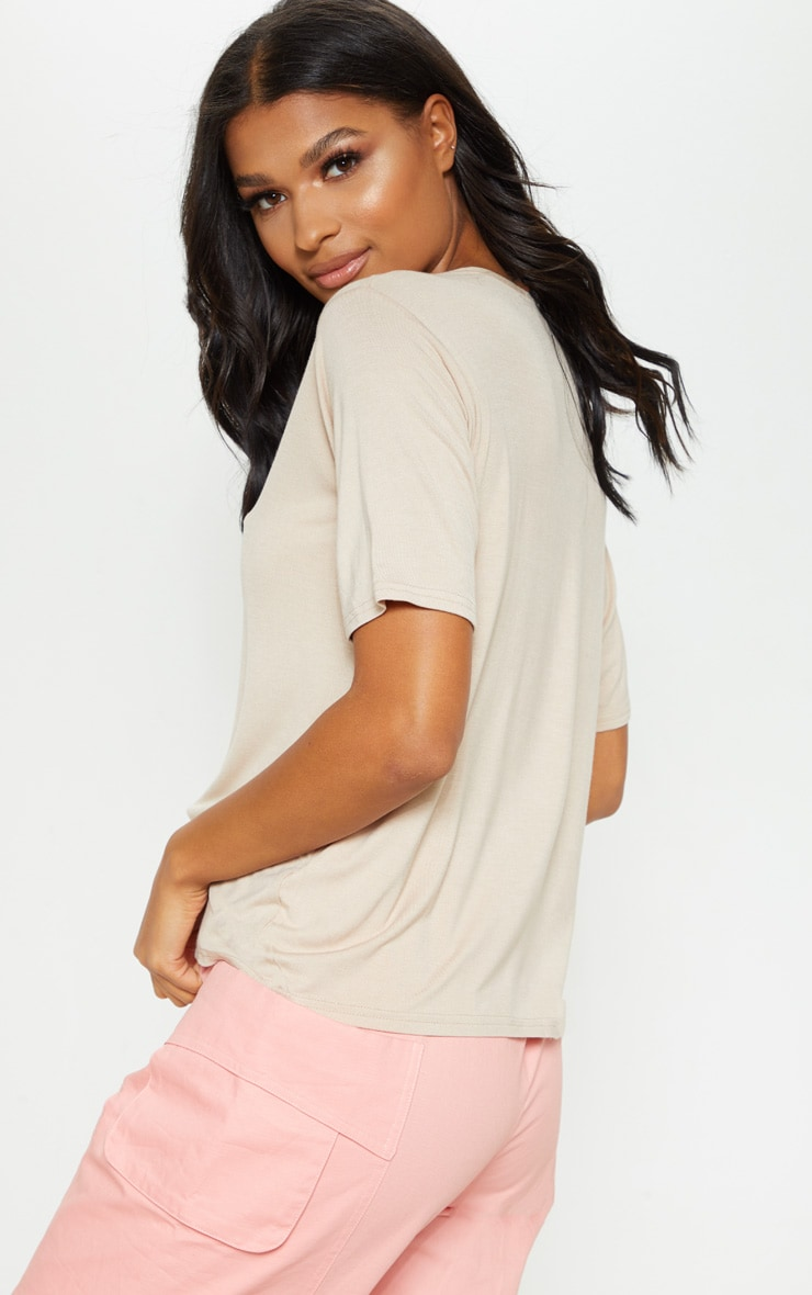 Basic Nude V Neck T Shirt 2