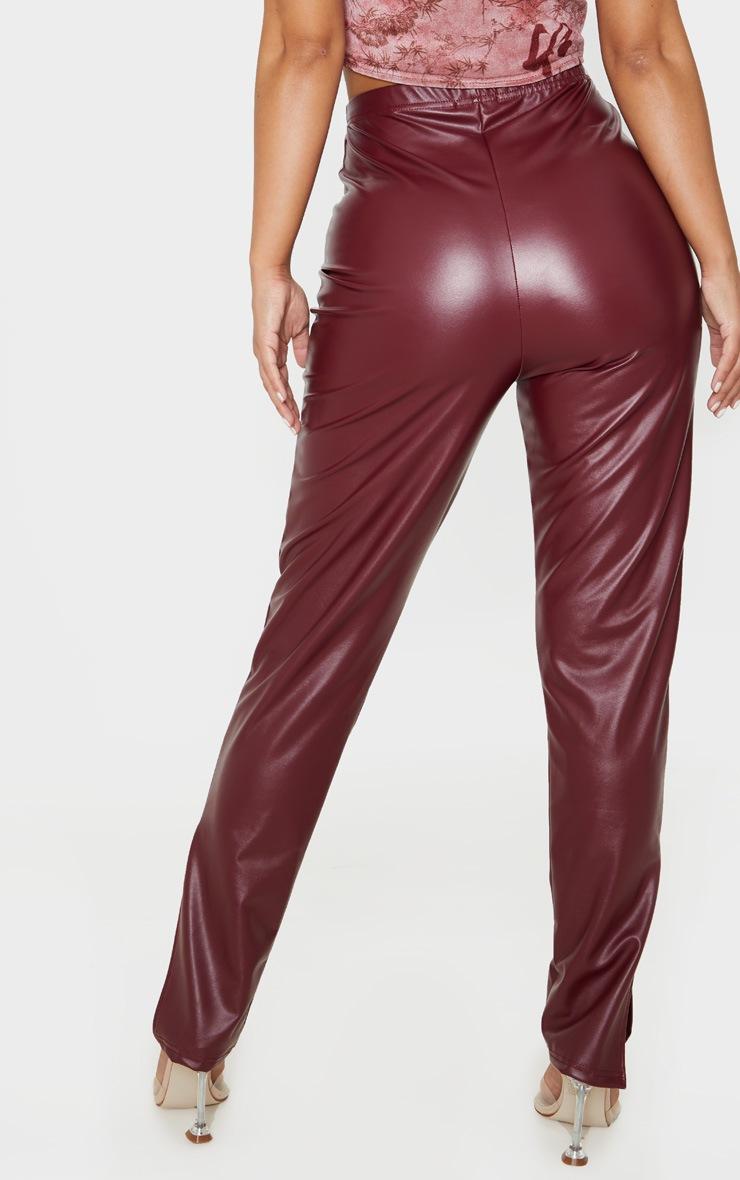 Petite Burgundy Split Hem Flared PU Trouser  4