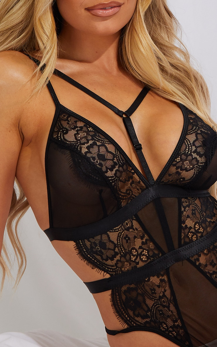 Black Strappy Harness Lace Body 4