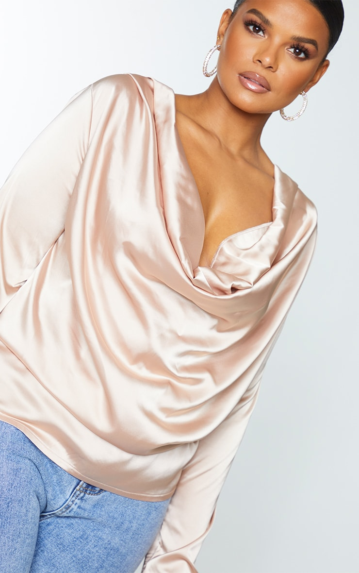 Plus Champagne Satin Cowl Long Sleeve Top 4