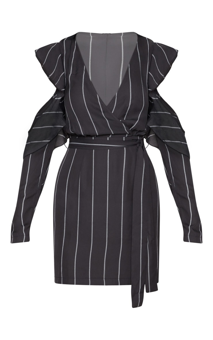 Black Pinstripe Cold Shoulder Shift Dress 3