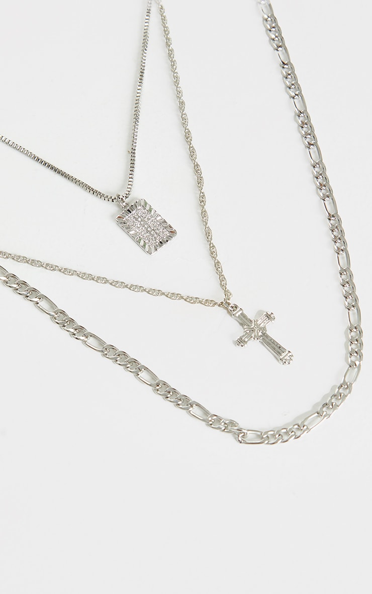 Silver Multi Chain Cross Necklace 3