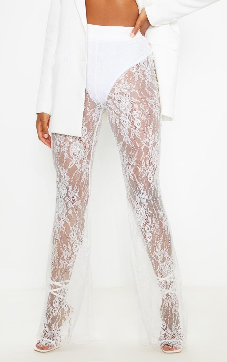 White Lace Flare Leg Trouser 2