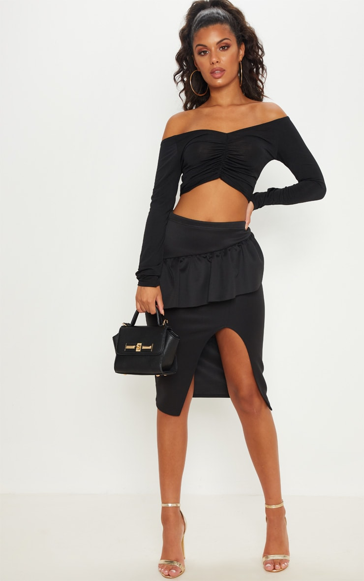 Black Frill Detail Midi Skirt