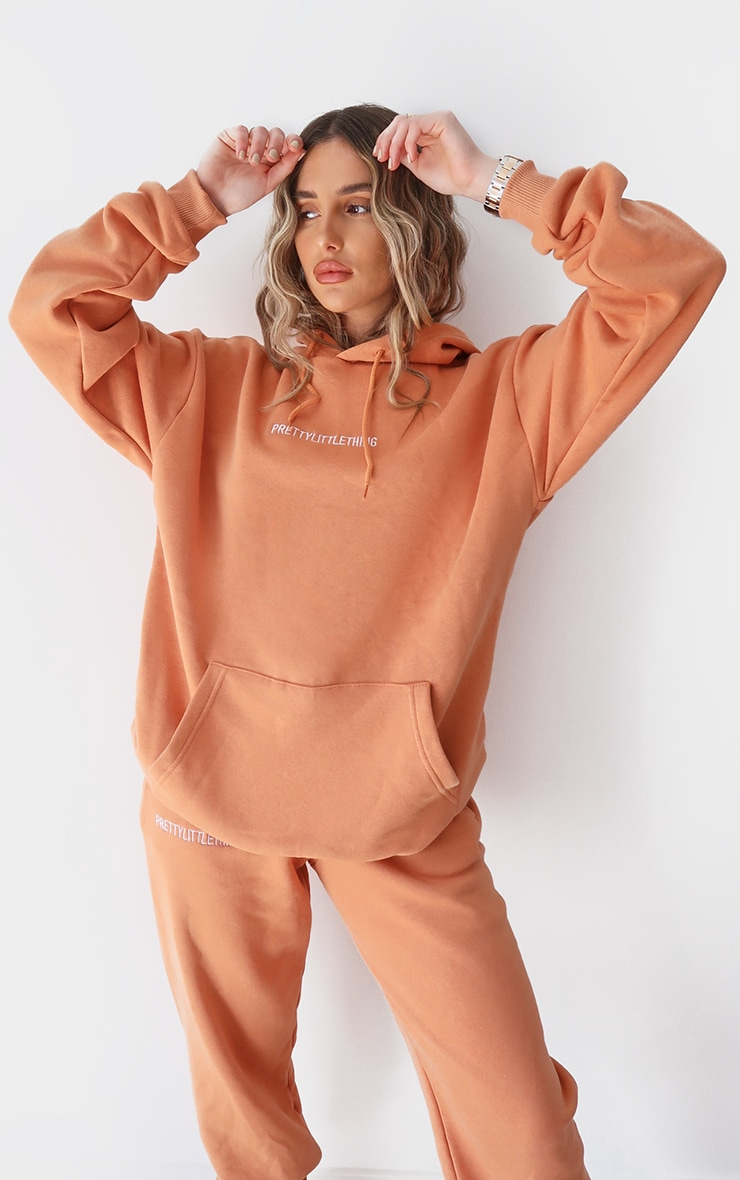PRETTYLITTLETHING Chestnut Embroidered Slogan Hoodie 1